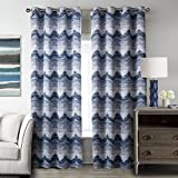 T2C Modern Blue Waves Pattern Window Blackout one Panel Curtain For Living Room 52