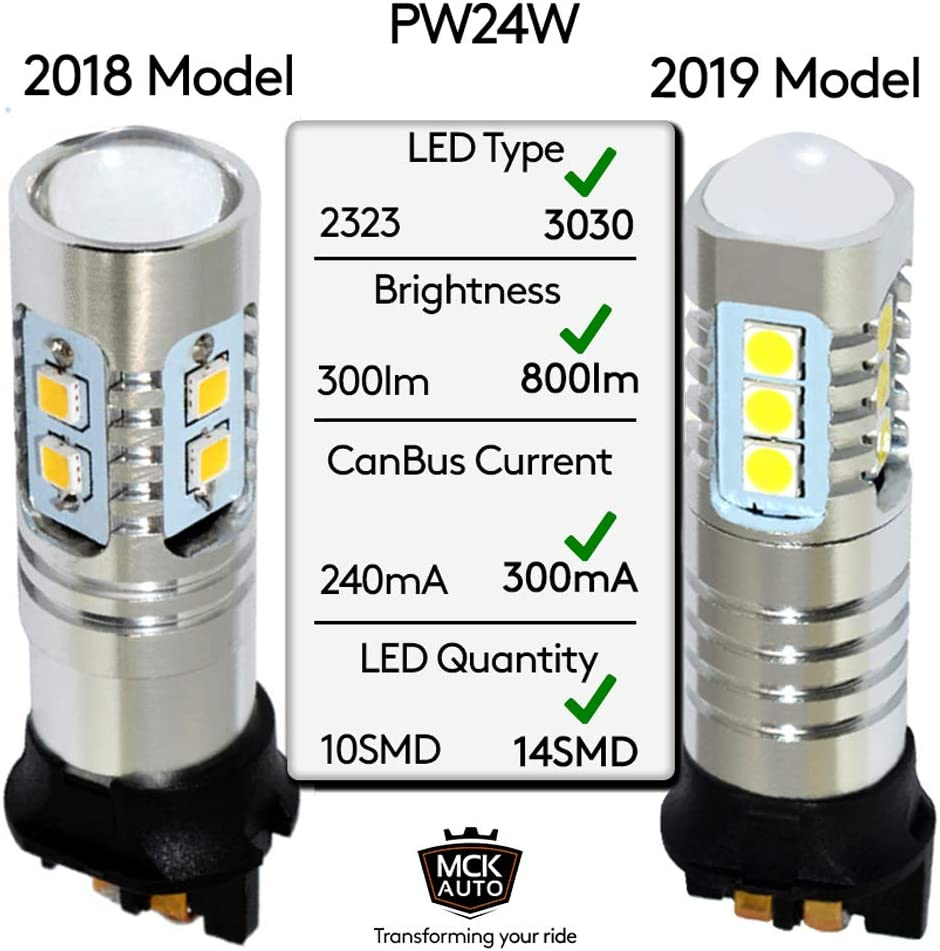 Transform Your Ride EB6L2 MCK Auto PW24W LED Canbus Bulbs Daytime Running Lights DRL White Very Bright and Without Errors Compatible with F30 F31 CC