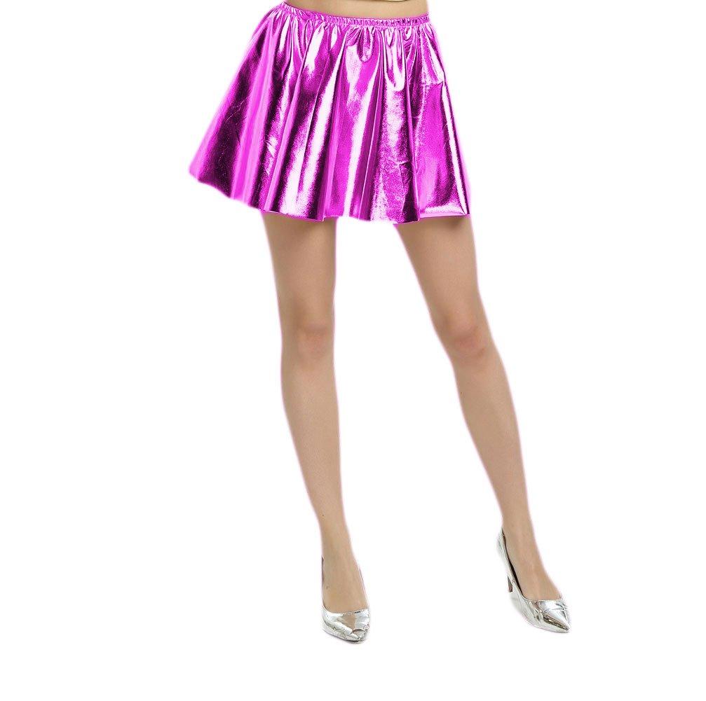 WOLF UNITARD Women's Shiny Metallic Liquid Pleated Skirt X-Large Rose Red