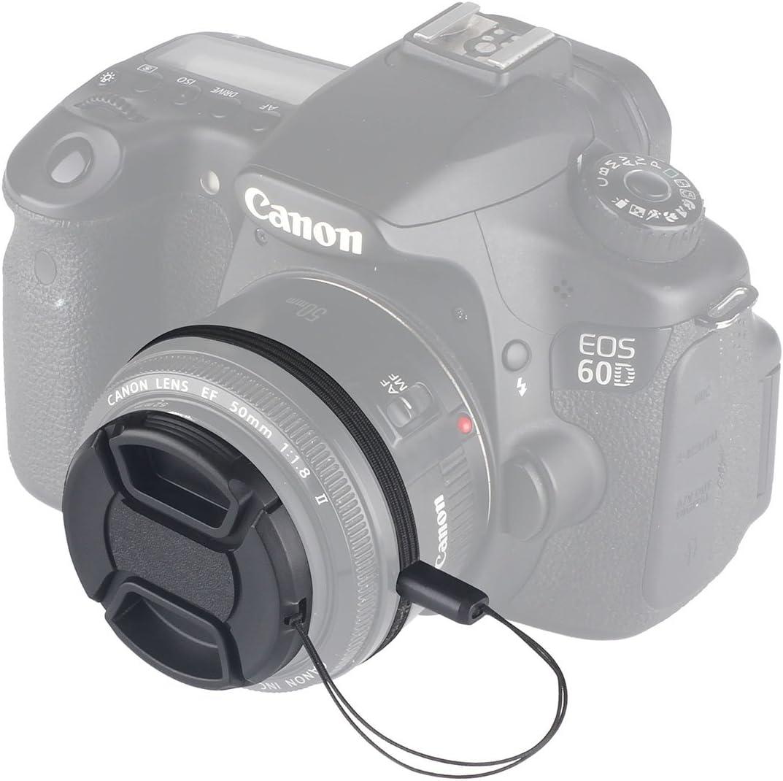 Microfiber Cleaning Cloth 3 Pcs 58mm Center Pinch Lens Cap and Cap Keeper Leash for Canon Nikon Sony DSLR Camera Unique Design Lens Cap Bundle
