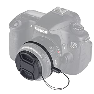 Unique Design Lens Cap Bundle, 3 Pcs 52mm Center Pinch Lens Cap and Cap Keeper Leash for Canon Nikon Sony DSLR Camera  Microfiber Cleaning Cloth