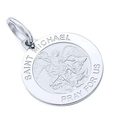 Amazon Com 14k White Gold Religious Saint Michael Medal Charm