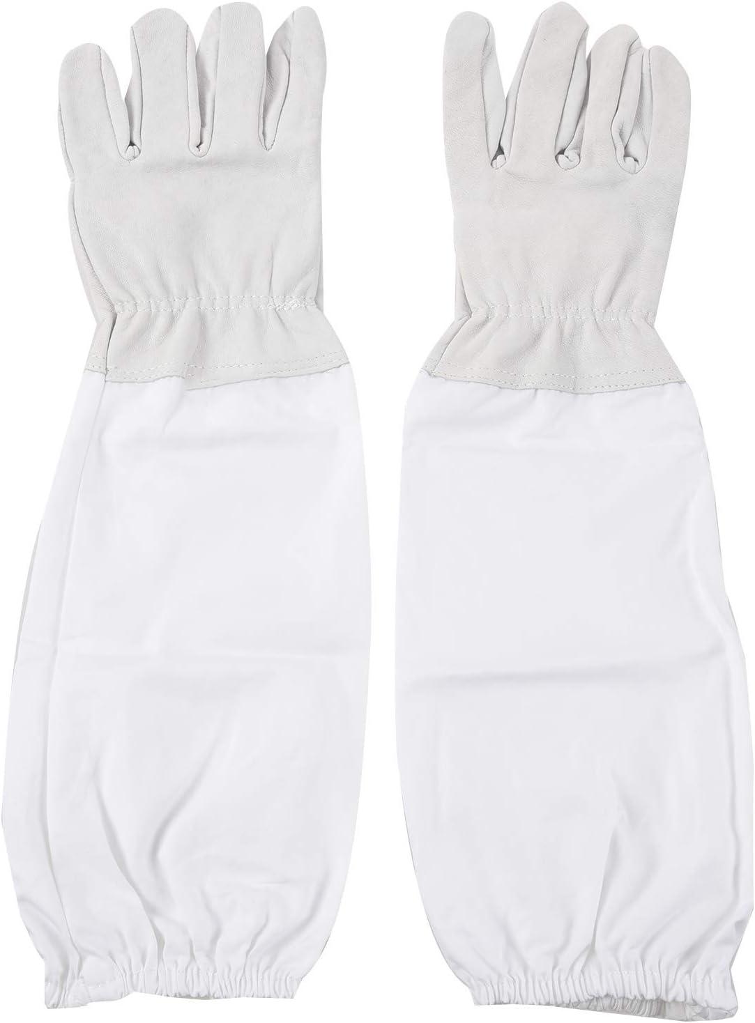 Gris et Blanc Sandis 1 Paire de Gants avec Manches Longues Ventilees de Professionnel Anti Abeille pour Apiculture Apiculteur