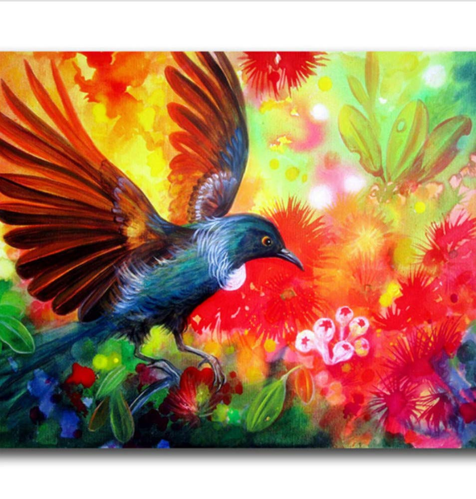 Paint By Numbers Kits Diy Painting By Number Oil Paintings On Canvas Gifts Colored Flowers And Birds For Kids Students Adults Toy Wall Artwork-Framed 16X20 Inch
