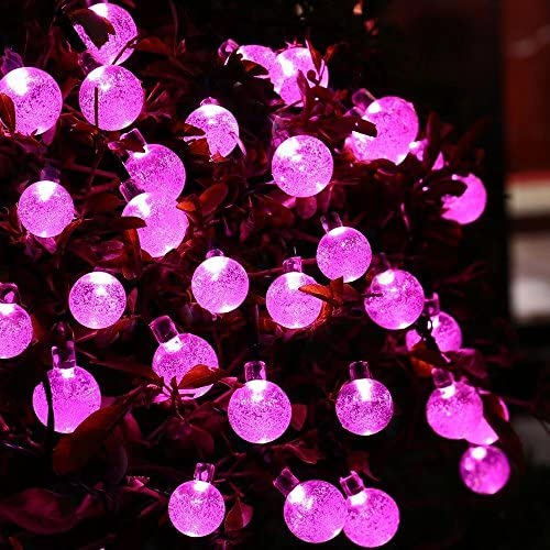 Berocia Solar String Lights Outdoor Waterproof Decorative Pink Camping Rope Lights Weatherproof for Outside Patio Garden Yard Bedroom 20ft 30 LED 8 Modes Pink