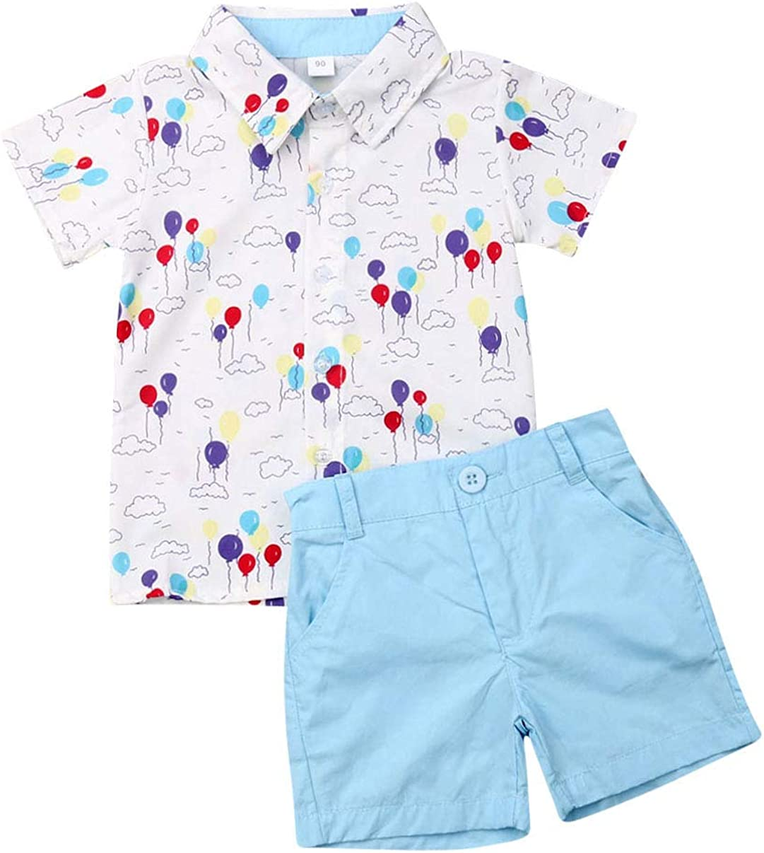 Toddler Kid Baby Boys Short Sleeve Tops T-Shirt Button Down Shirts Shorts Pants 2Pcs Summer Outfits 1-6Y
