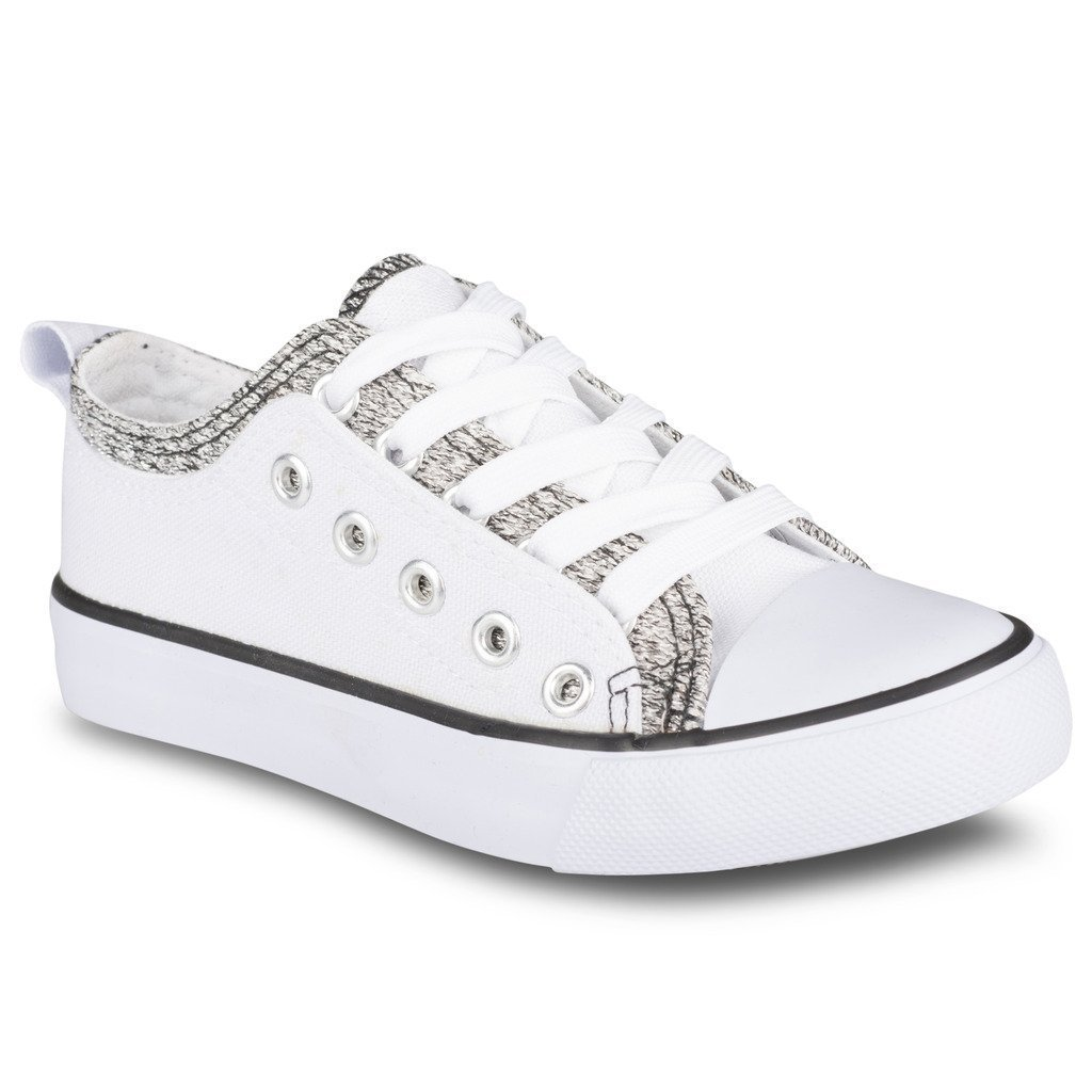 Twisted Girl's Canvas KIX Double Upper Lo-Top Sneaker - White/Silver, Size 1