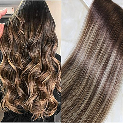 20pcs 50g Tape in Hair Extensions Glam Seamless Ombre Color Darker Brown #3 to Light Blonde #24 Highlighted Brown Balayage Weft Hair Extensions(24″, 3/24/3)