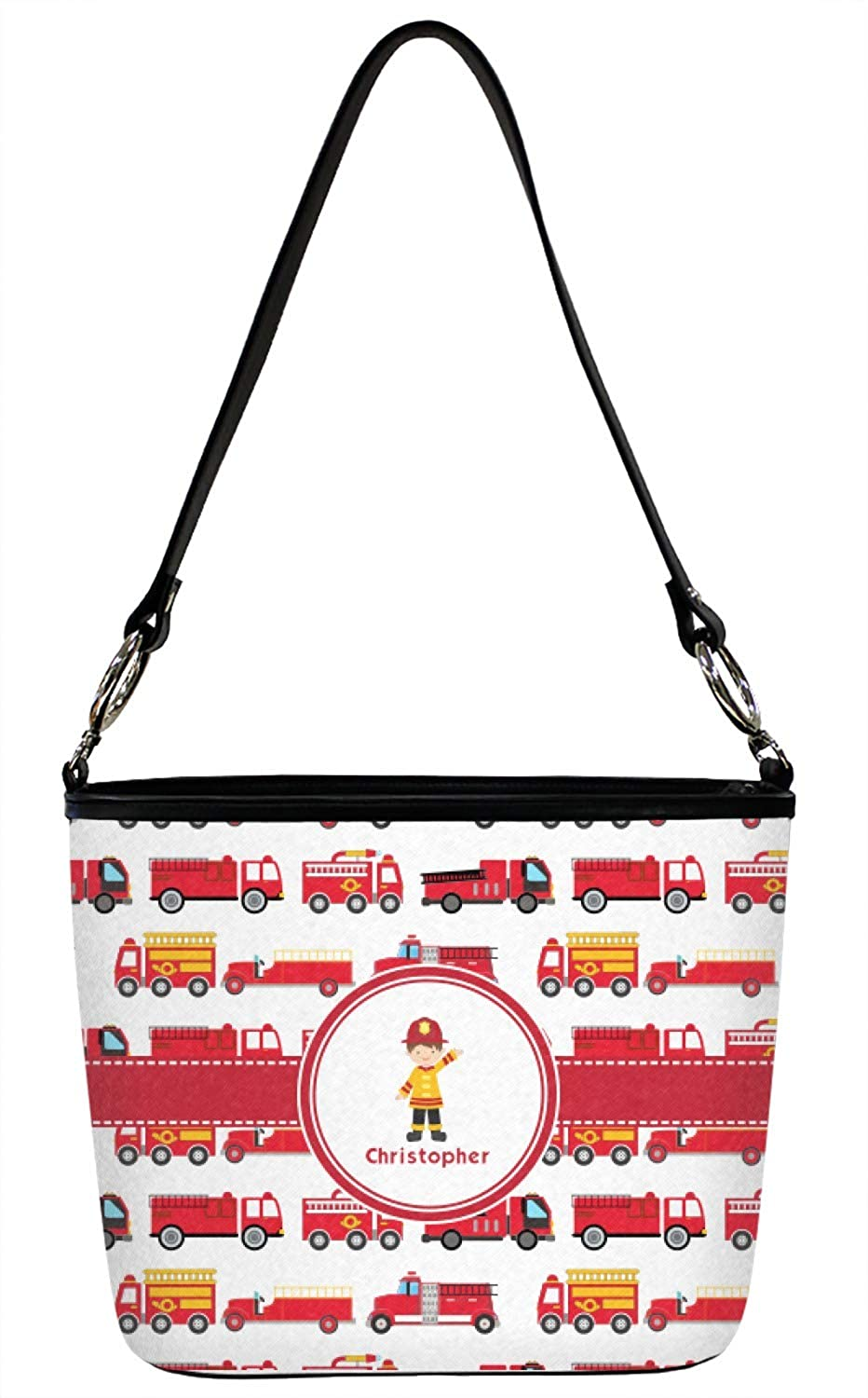 Firetrucks Bucket Bags w//Genuine Leather Trim Front Personalized Large