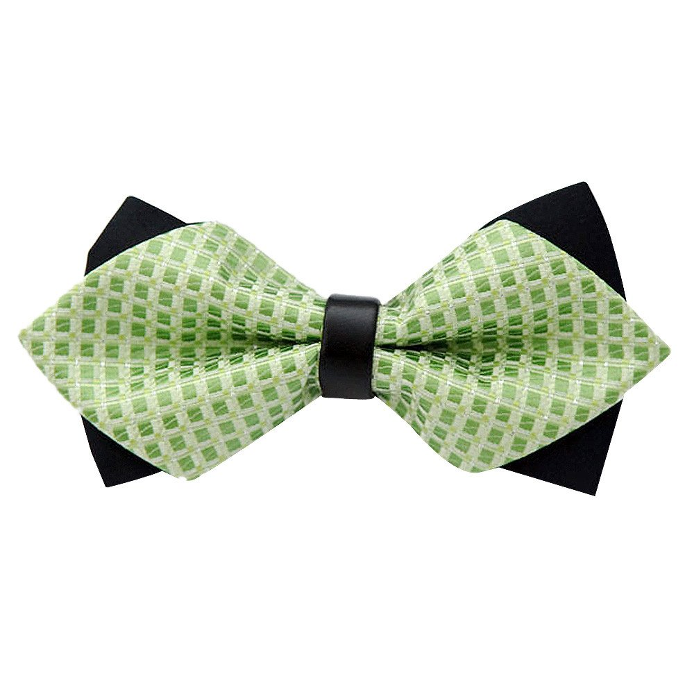 Unisex tie Classic Fashion Wedding Party Fancy Adjustable Necktie Silk Bow Tie (Green)