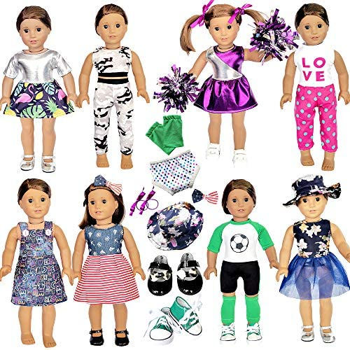 20 Pcs American Doll Clothes and Accessories fit American 18 inch Girl Dolls – Including 8 Complete Set Toys Doll Outfits and 2 Pairs Shoes, Doll Accessories with Cap, Underwear and Hair Clip