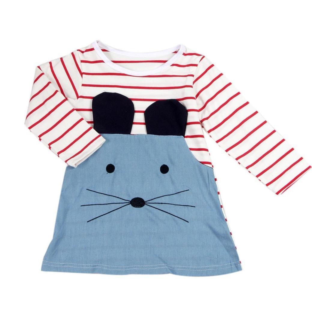Webla Kids Girls Stripe Mouse Denim Dress YHL60326181