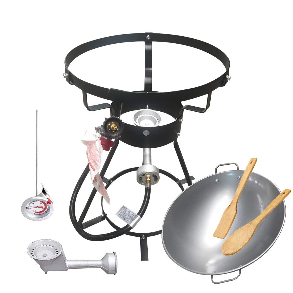 """VIGIND Portable Propane Outdoor Cooker, Heavy-Duty 24"""" Bolt Together Outdoor Wok Cooker with 18-Inch Iron Wok and 2 Wooden Utensils"""