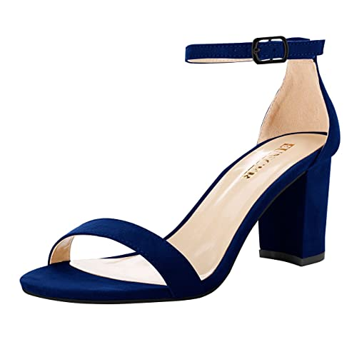 6e73f8597ba Eunicer Women's Single Band Classic Chunky Block High Heel Pump Sandals  with Ankle Strap Dress Shoes (Half Size Large)