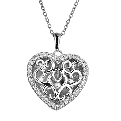 77f0ca20a Amazon.com: With You Lockets-Fine Sterling Silver-Custom Photo Heart Locket  Necklace-That Holds Pictures for Women-The Mary: Jewelry