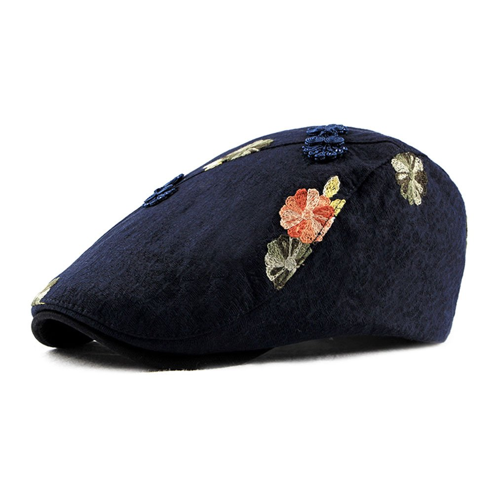 ZLSLZ Womens Linen Adjustable Floral Embroidery Ivy Newsboy Cabbie Gatsby Beret Sun Hat Cap Navy