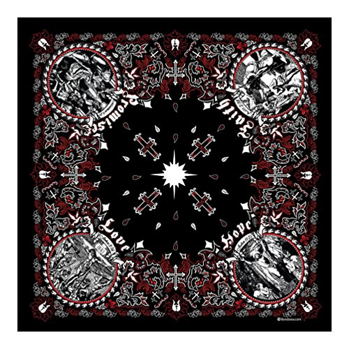 Black and Red - Jesus Christ - Christian Bandana - Single Piece