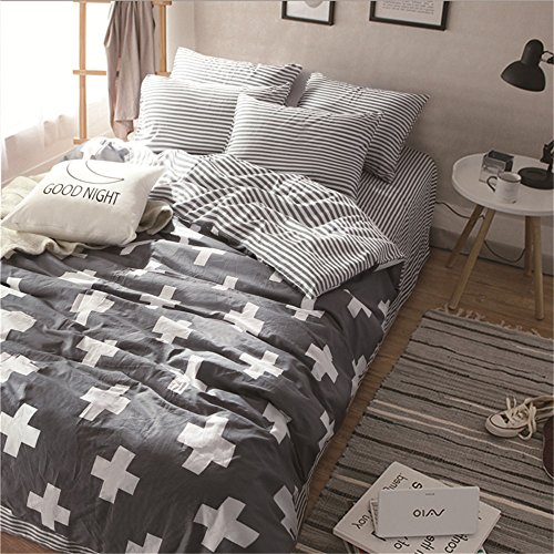 - VM VOUGEMARKET 3 Pieces Duvet Cover Sets Queen Gray, White Cross Duvet Cover with 2 Pillow Shams,100% Cotton Reversible Striped Bedding Set (Queen, Style 3)