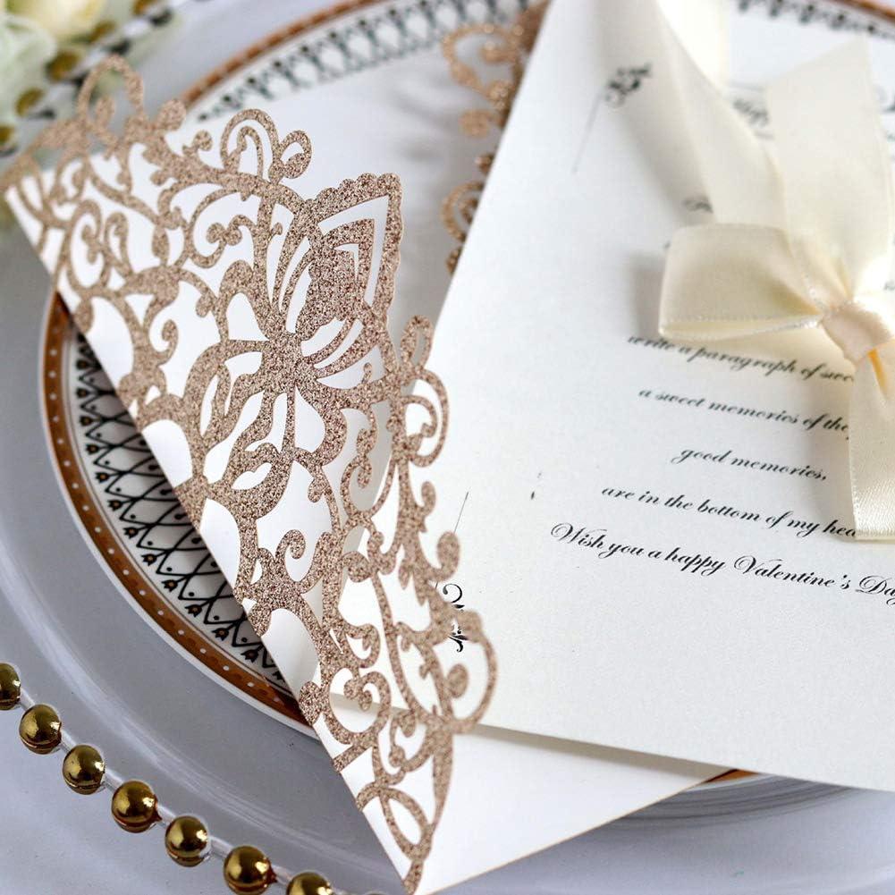 10 Stk Hohles Zum Ausblasen DIY Papier Deckel Elegant mit Band Bowknot Party Hochzeit Gru/ß Urlaub Verlobung Glitzer free size Einladungskarten Karte Ros/égold