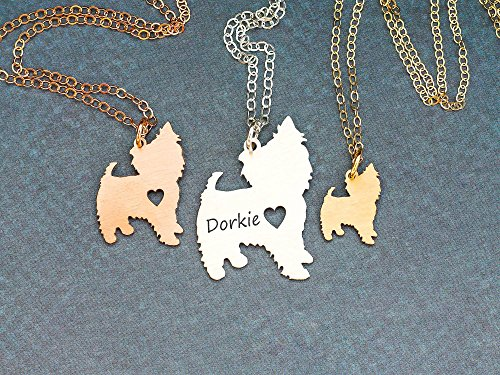 Yorkie Dog Necklace - Yorkshie Terrier - IBD - Personalize with Name or Date - Choose Chain Length - Pendant Size Options - 935 Sterling Silver 14K Rose Gold Filled Charm - Ships in 1 Business (Yorkie Terrier Teacup)