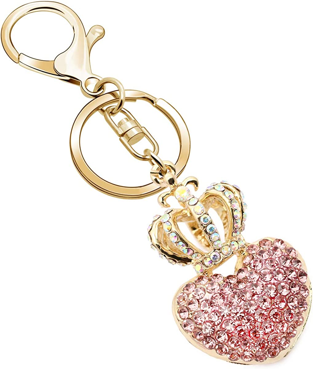 JJIA Keychains for Women, Best Friend Girlfriend Gifts Love Heart and Crown Crystal Rhinestone Keychain Key Chain Purse Pendant Handbag Bag Decoration, Pink,