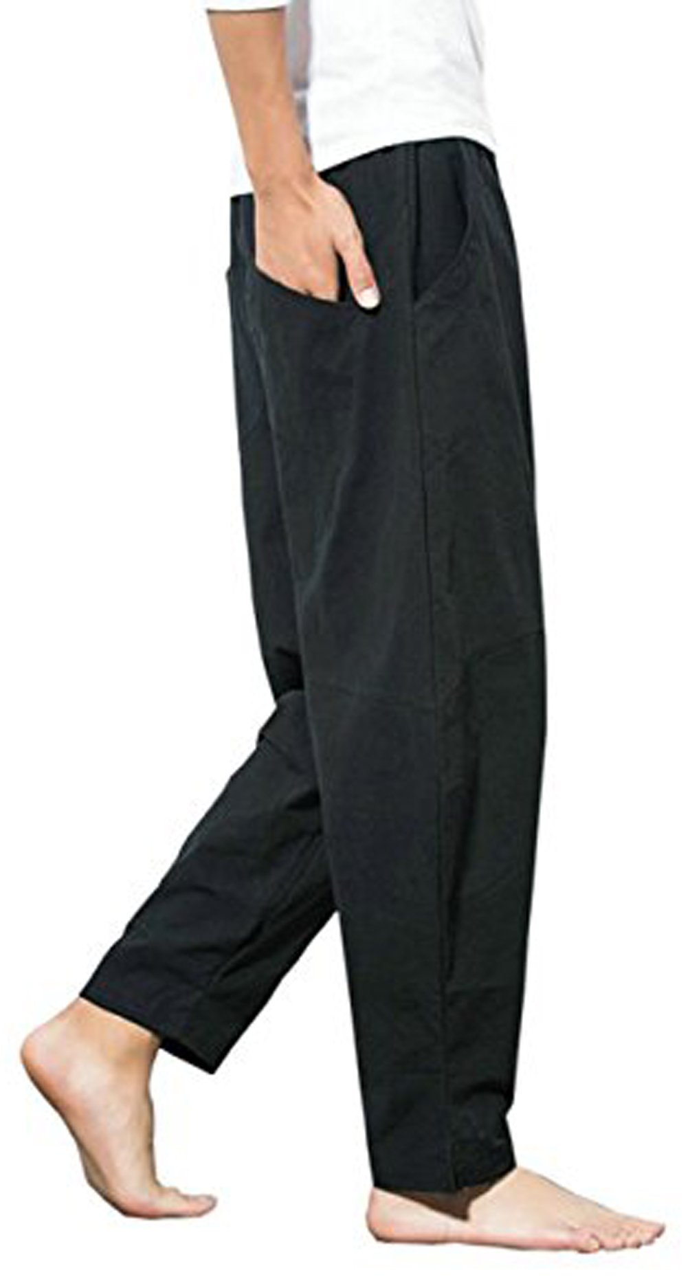 Thrivqyaf Men's Summer Casual Baggy Drawstring Cotton Beach Harem Pants Trousers (US M = Asian 2XL Waist:33''-34'', Black) by Thrivqyaf (Image #4)