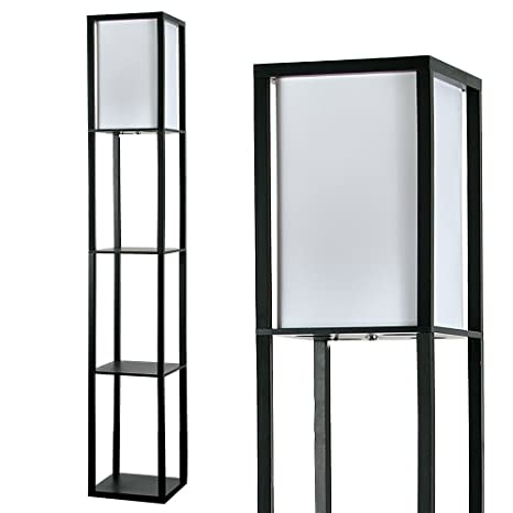 Modern Black Wooden White Fabric Floor Lamp With Built In Shelving