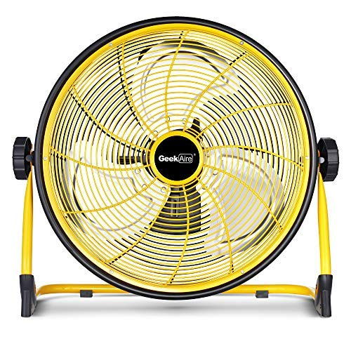 GeekAire Rechargeable Outdoor High Velocity Floor Fan,16'' Portable 15600mAh Battery Operated Fan with Metal Blade for Garage Barn Gym Camp,3-24 h Run Time Cordless Industrial Fan,USB Output for Phone (Best Electric Cool Box For Camping)