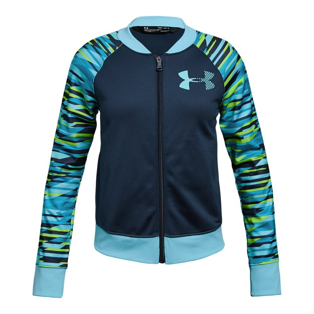 Under Armour Girls' Graphic Track Jacket, Academy (408)/Venetian Blue, Youth Medium by Under Armour