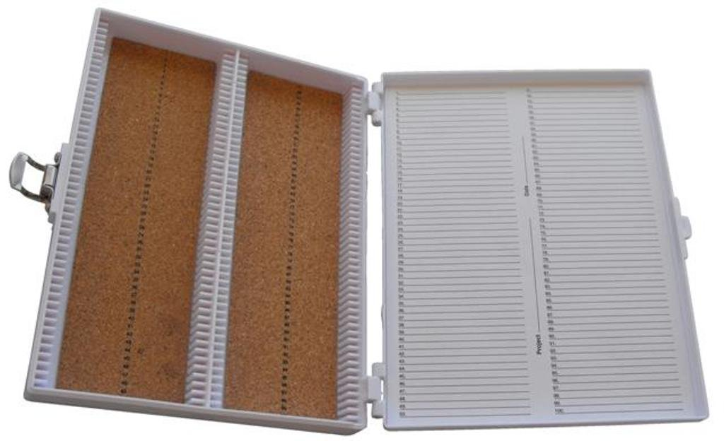 Heathrow Scientific HD15994E White Cork Lined 100 Place Microscope Slide Box, 8.25'' Length x 7'' Width x 1.3'' Height by Heathrow Scientific