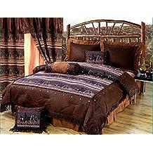 Western Mustang - Horse Themed - 5 Piece Twin Size Comforter Bedding Set - (1 Comforter, 1 Pillow Sham, 1 Bedskirt, 1 Neckroll Pillow, 1 Accent Pillow) - SAVE BIG ON BUNDLING!