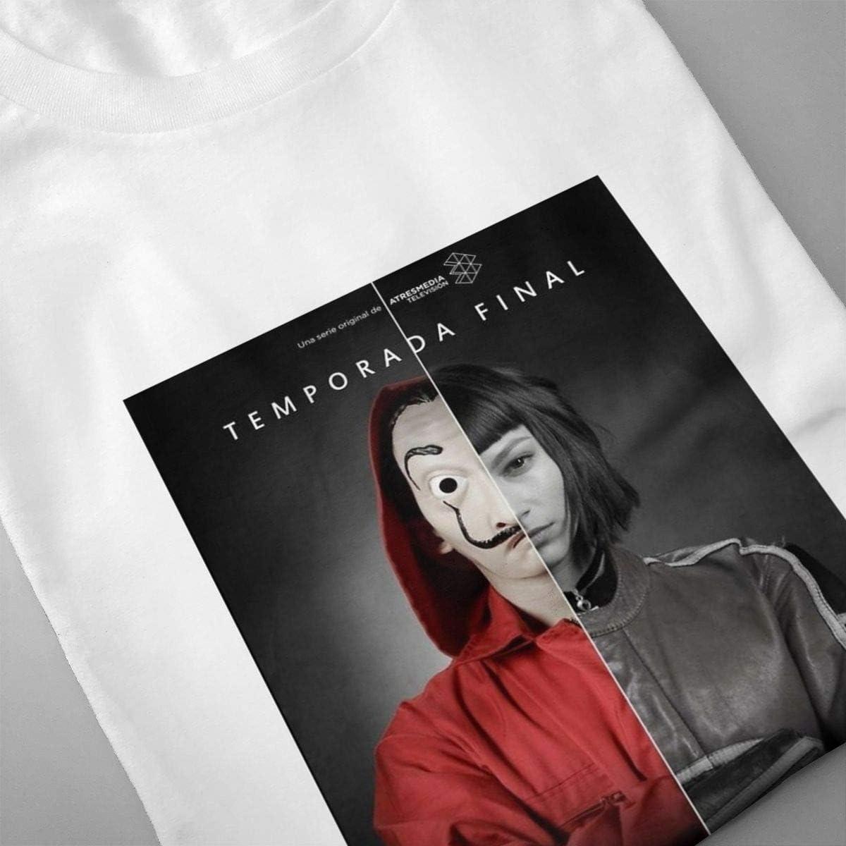 QINSHAONI La-Casa-de-Papel Teenagers Boy Retro Fashion Printed Letters Anime Pattern Comfortable Light T-Shirt T-Shirts L