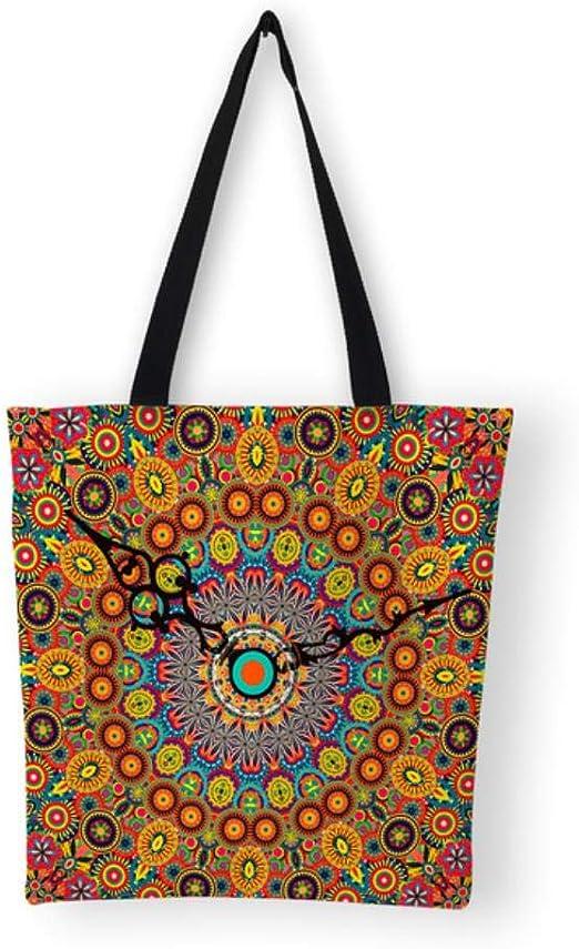 eaodz Bolso de Compras Reutilizable de la Lona de los Bolsos del Modelo de la Mandala de los Bolsos de Las Mujeres de la Capacidad, C: Amazon.es: Hogar