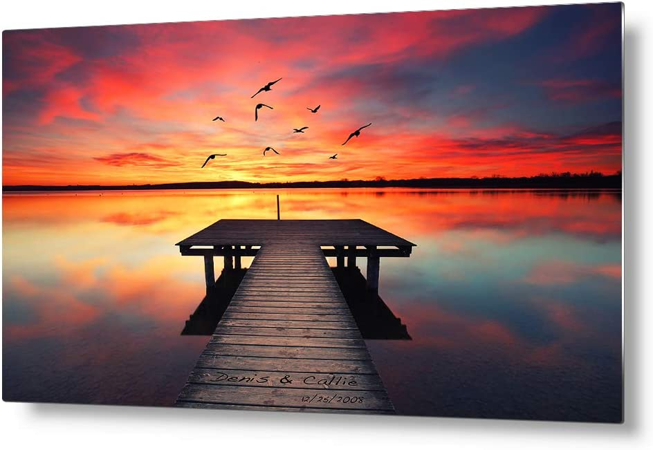 IPIC – Our Own Sunset Personalized Metal Wall Art with Names, Perfect Love Gift for Anniversary, Sublimation on Metal Technique Ready to Hang. 18×12