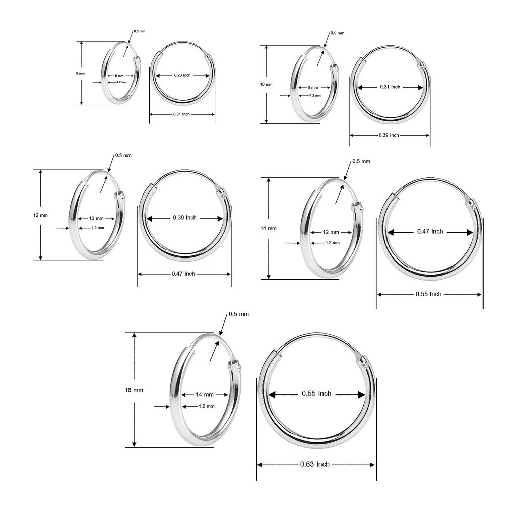 Sterling Silver Endless Hoop Earrings Set Of Five 1.2mm x 8, 10, 12, 14, 16mm Thin Round Unisex by Silverline Jewelry (Image #4)