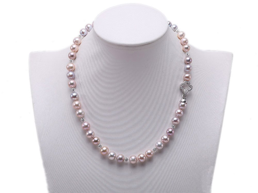 JYX 9-9.5mm Pink and Lavender Round Freshwater Pearl Necklace 18''