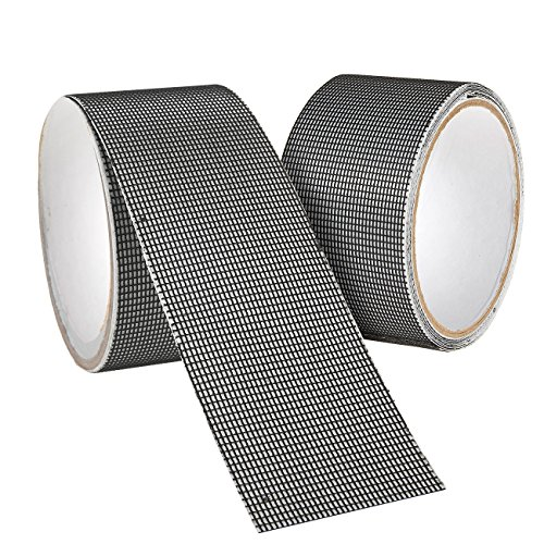 Window and Door Screen Repair Kit, 2-Pack Strong Adhesive and Waterproof Screen Repair Tape, Covering up Holes and Tears, Fiberglass Cloth Mesh, 80 x 2 inches