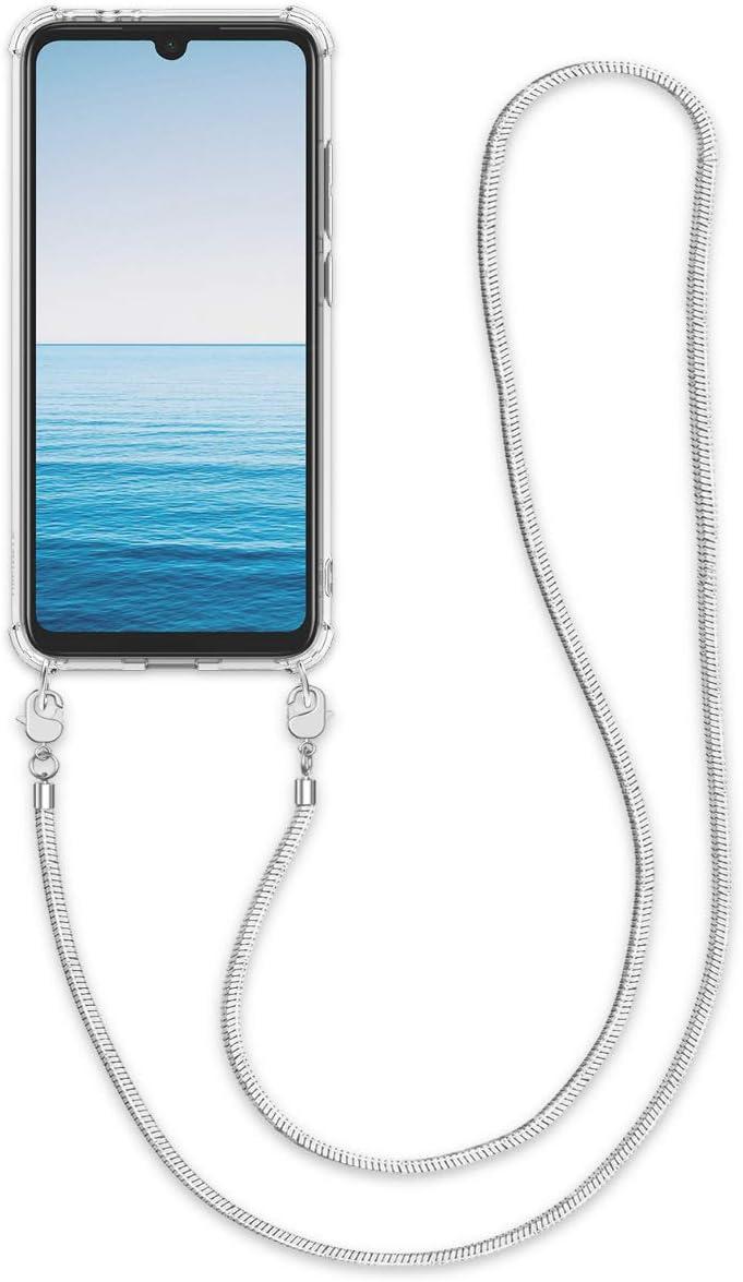 kwmobile Funda de Silicona Compatible con Xiaomi Redmi Note 7 / Note 7 Pro - Carcasa TPU Transparente - Case con cordón de Metal de 120CM