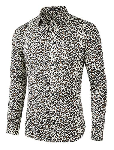 Lars Amadeus Men Vintage Leopard Print Button Down Long Sleeve Cotton Casual Shirt XL Brown