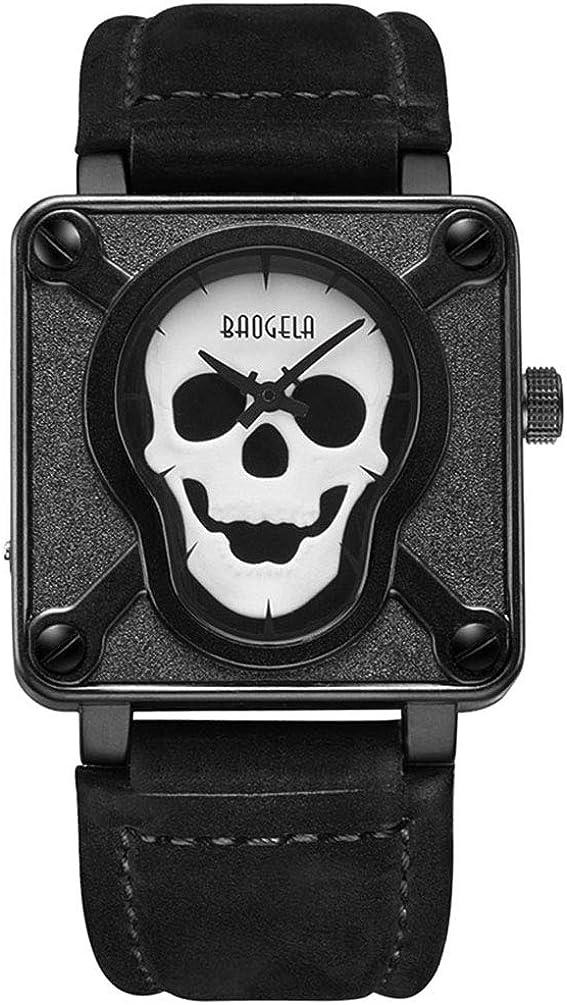 BAOGELA Reloj Hombre Esqueleto Deportivo Cuarzo con Correa de Cuero Negro - Esfera Cuadrado All Black - Impermeable