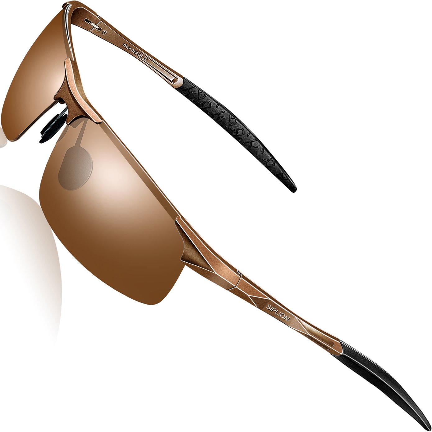 SIPLION Men's Driving Polarized Sport Sunglasses Al-Mg Metal Frame Ultra Light 8177 Brown by SIPLION