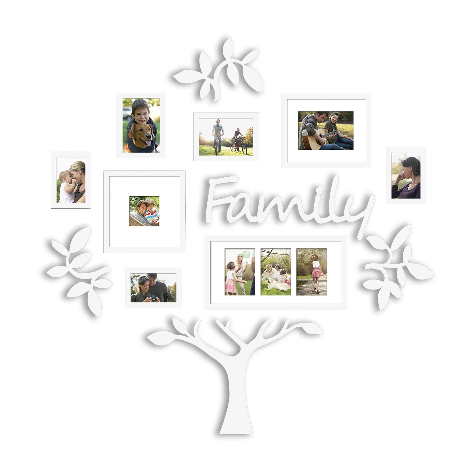 Hello Laura - Photo Frame Family Theme Set Black - Picture Frame Gallery Collection Display Tree Shape Ready to Hang Stand with Built in Easel (13PCS White Tree) by Hello Laura