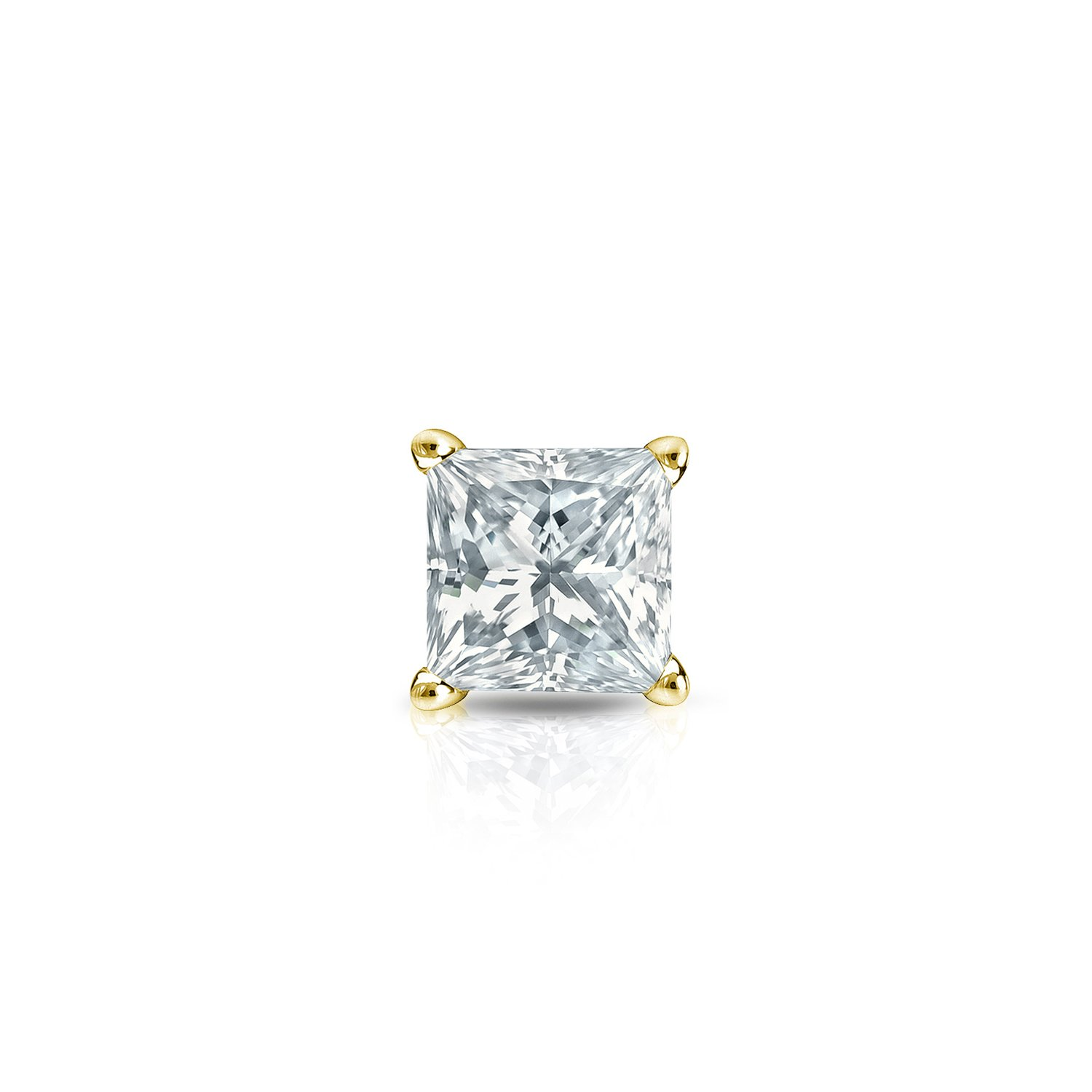 14k Yellow Gold Princess Diamond Simulant CZ SINGLE STUD Earring 4-Prong(1/4cttw,Excellent Quality)