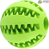 "EVERFRIEND Interactive Soft Rubber Toy Ball For Small to Medium Dogs (Puppies) Cats - Virtually Indestructible Dog Ball [Bite Resistant] - Teeth Cleaning, IQ Training, Playing, Chewing - 2.8"" green"