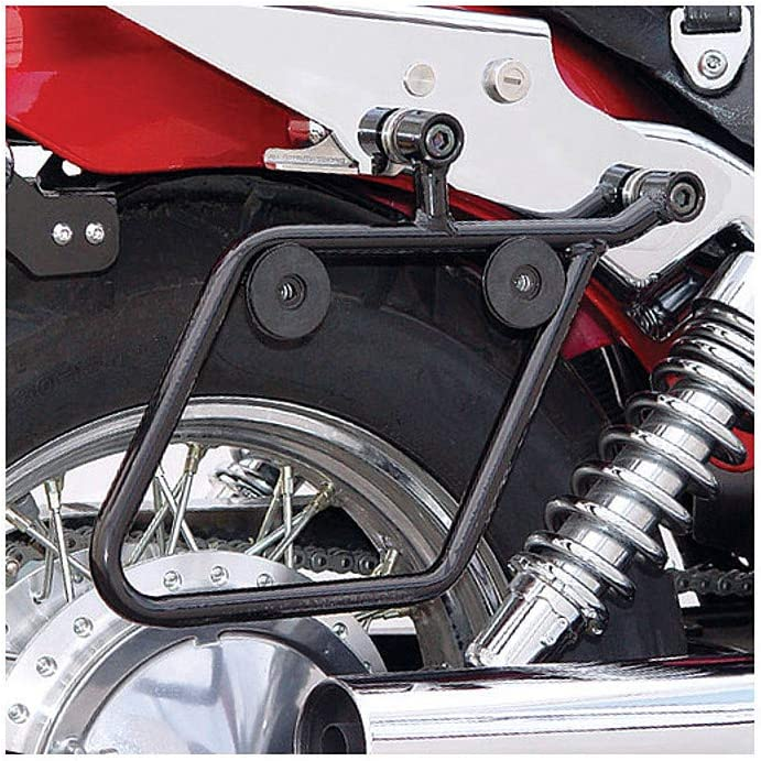 QUICK DETACH MOTORCYCLE SADDLEBAGS w//FLAMES UNIVERSAL FIT HARLEY-HONDA-INDIAN