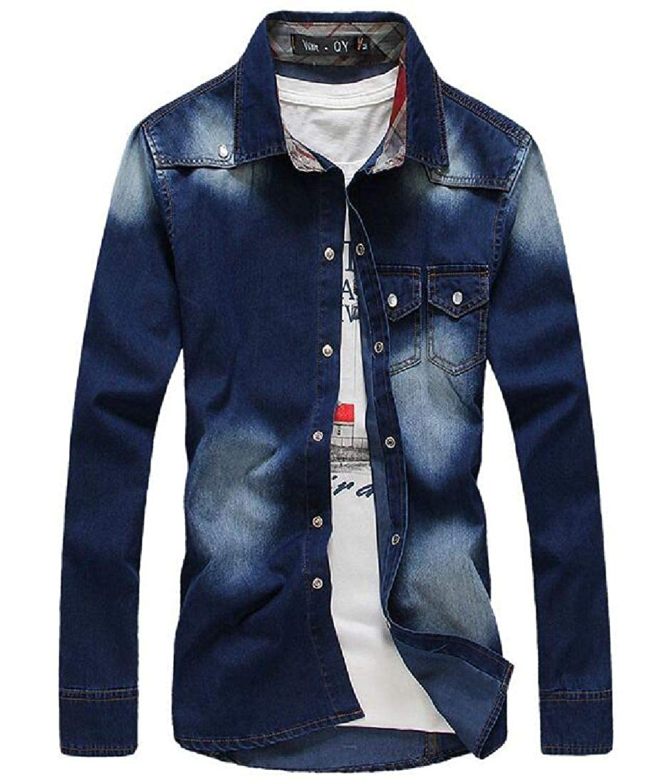 Abeaicoc Mens Pockets Button Up Fashion Long Sleeve Cargo Denim Work Shirt