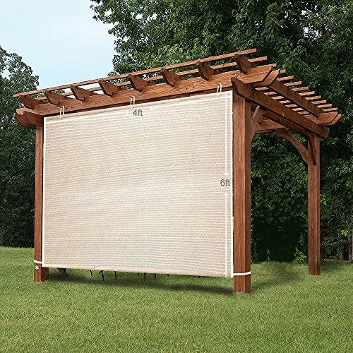 Easy2Hang EZ2hang Alternative Solution for Roller Shade,Side Shade Wall for Pergola, Porch, Canopy or Gazebo 4 x 6 , Wheat