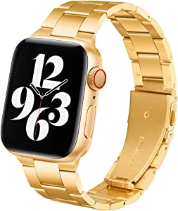 Steel Band Compatible with Apple Watch Bands 44mm 42mm, Business & Leisure Upgraded Stainless Steel Metal Solid Replacement Strap for iWatch Series 6/5/4/3/2/1 & SE Men and Women - Stainless Gold