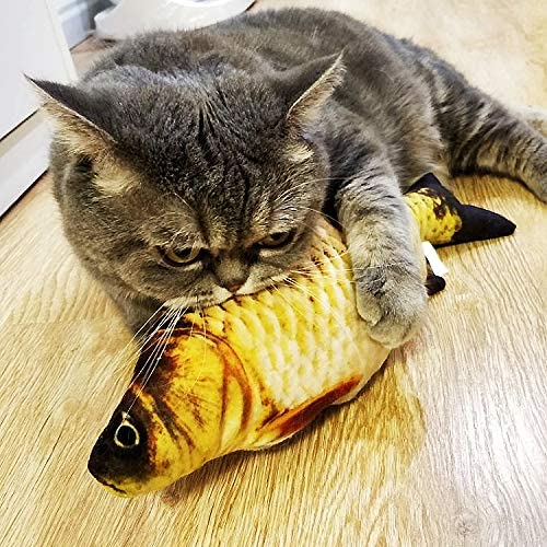 Hapy Shop Catnip Toys 5 Pack - Simulation Fish Shape Realistic Fluffy Catnip Doll Interactive Pets Pillow Chew Bite Supplies for Cat Kitten Kitty 6