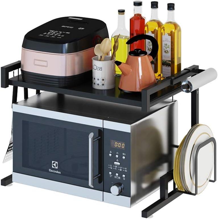 電子レンジラックブラックステンレススチールラックキッチン用品収納ラックオーブンラックホームフロア2層のスパイス棚 (Color : BLACK, Size : 58CM*36.5CM*41.7CM)